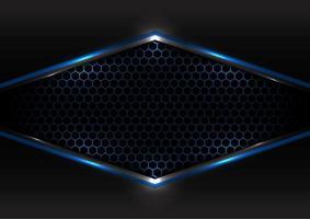 conceito futurista de tecnologia abstrata preto e cinza metálico sobreposição quadro de luz azul hexágono malha design moderno fundo e textura vetor