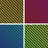 conjunto de padrão de linhas de onda diagonal abstratas amarelas, azuis, rosa e verdes com sombra em fundo preto e textura vetor