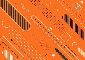 modelo moderno padrão geométrico abstrato design plano elementos memphis estilo fundo laranja vetor