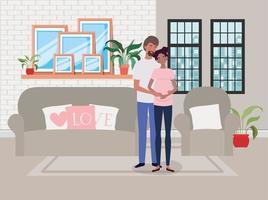 casal afro esperando um bebê em casa vetor