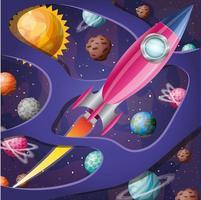 foguete com ilustração vetorial de design de chamas e planetas vetor