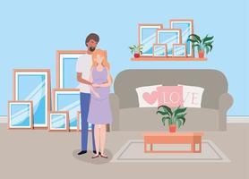 casal interracial esperando um bebê em casa vetor
