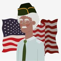 cartão do dia do memorial com veterano afro e bandeira dos EUA vetor