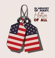 placas de metal com bandeira dos EUA do dia do memorial vetor