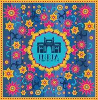 templo de mesquita indiana com fundo floral vetor