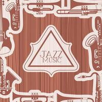moldura do dia do jazz com instrumentos e fundo de madeira vetor