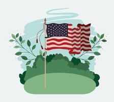 bandeira dos estados unidos da américa balançando no campo