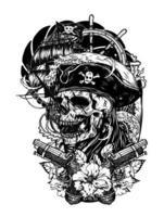 crânio de pirata com desenho de mão de tatuagem de vetor de navio