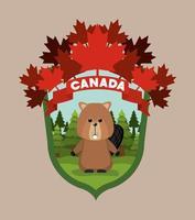 animal castor para a celebração do dia do Canadá vetor
