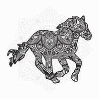 mandala de cavalo. elementos decorativos vintage. padrão oriental, ilustração vetorial. vetor