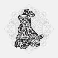 mandala de cachorro. elementos decorativos vintage. padrão oriental, ilustração vetorial. vetor