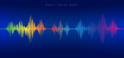 Equalizador de linha de onda sonora de música de arco-íris sobre fundo azul. vetor