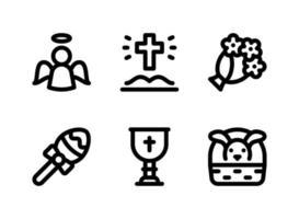 conjunto simples de ícones sólidos de vetor relacionados à Páscoa. contém ícones como anjo, bíblia aberta, buquê, cálice e muito mais.