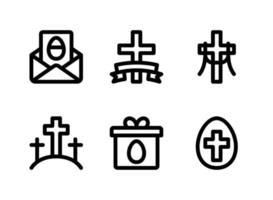 conjunto simples de ícones sólidos de vetor relacionados à Páscoa. contém ícones como convite, cruz, calvário, presente e muito mais.