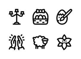 conjunto simples de ícones sólidos de vetor relacionados à Páscoa. contém ícones como candelabros, cesta de páscoa, ovo pintado, orando e muito mais.
