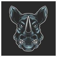 ilustração mascote cabeça rinoceronte vetor