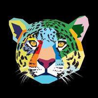 cabeça de jaguar em desenhos e esboços coloridos vetor