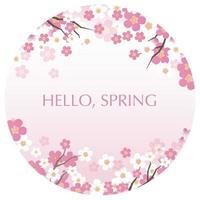ilustração vetorial de fundo redondo com espaço de texto e flores de cerejeira em plena floração, isoladas em um fundo branco. vetor
