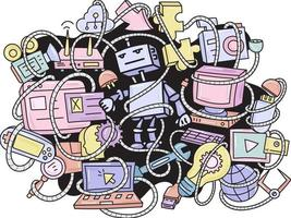 robô de doodle e fundo de padrão de gadgets vetor