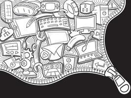 tecnologia doodle parede arte fundo vetor
