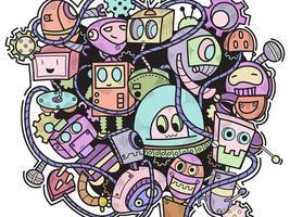 doodle robô padrão de fundo vetor
