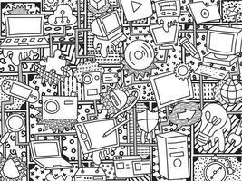 padrão com objetos diferentes para seu projeto. arte do doodle da parede vetor
