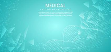 modelo para o conceito de ciência e tecnologia ou banner com moléculas de dna. vetor