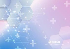 abstrato hexágono padrão e linhas de fundo. conceito médico e científico. vetor