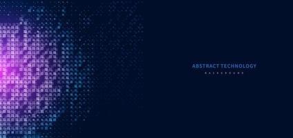 tecnologia abstrata futurista conceito digital padrão quadrado com iluminação e elementos quadrados de partículas brilhantes sobre fundo azul escuro. vetor