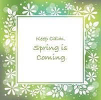 quadro de primavera abstrato quadrado com silhueta floral, ilustração vetorial. vetor