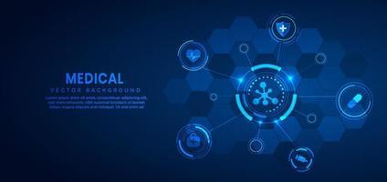 tecnologia médica e conceito de ciência e fundo de padrão de ícone de cuidados de saúde. vetor