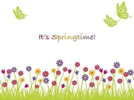 ilustração de fundo vector primavera com flores, borboletas e espaço de texto. repetível horizontalmente.