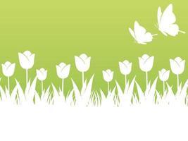 ilustração de fundo primavera com tulipas, borboletas e espaço de texto. repetível horizontalmente. vetor