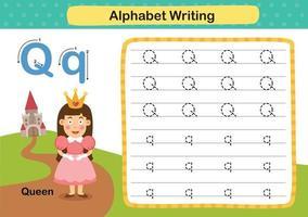 Exercício q-rainha da letra do alfabeto com ilustração de vocabulário de desenho animado, vetor