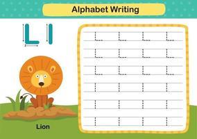 Exercício de leão com letra do alfabeto com ilustração de vocabulário de desenho animado, vetor