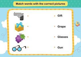 combinar palavras com a ilustração de imagens corretas, vetor