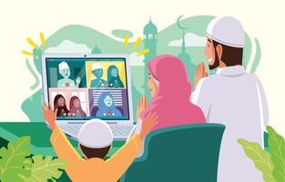 Saudação por teleconferência eid mubarak com família e amigos vetor