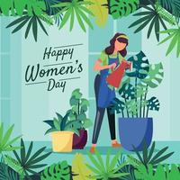 uma mulher está regando as plantas vetor