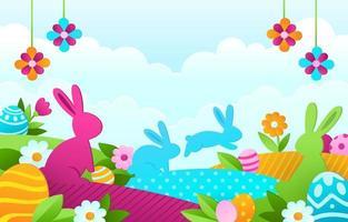 caça ao ovo da páscoa no jardim colorido da primavera vetor