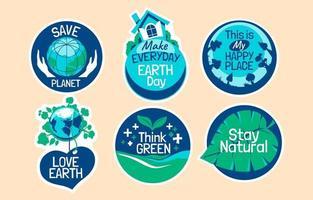 coleção de adesivos para o conceito do dia da terra vetor