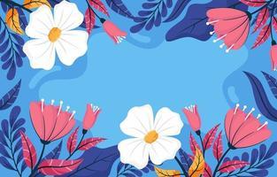 primavera floral fundo azul vetor