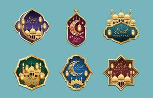 Etiquetas de promoção de marketing eid mubarak vetor
