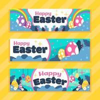 fofo pacote de banner de ovos de páscoa vetor
