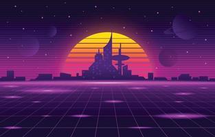 fundo retro futurismo da cidade vetor