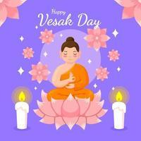 dia de vesak com Buda e flor de lótus vetor