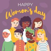 diversidade de mulheres para celebrar o dia das mulheres vetor