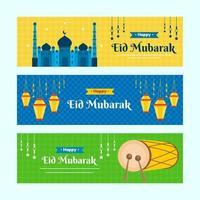 conjunto de banners do festival eid mubarak vetor