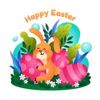 feliz desenho de coelhinho da páscoa
