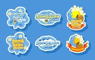 Pacotes de adesivos da festa songkran vetor