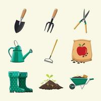 conjunto de ícones de jardinagem vetor